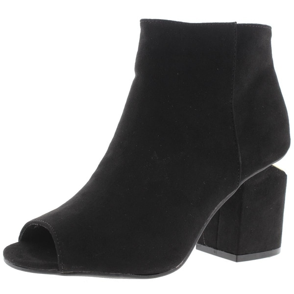 Qupid Womens Bosa Booties Faux Suede Cut-Out