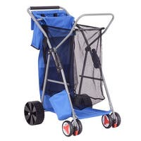 Costway Foldable Beach Wonder Tote Cart Folding Storage