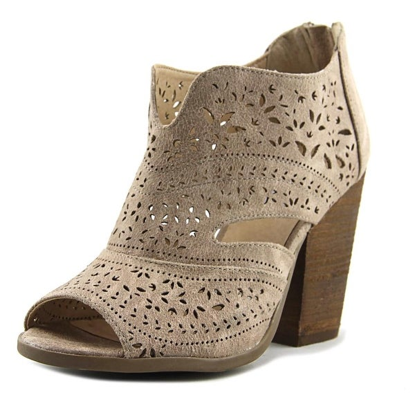 Not Rated Santana Women Peep-Toe Leather Ivory Bootie