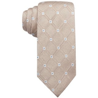 Tasso Elba NEW Beige Men's Parquet Diamond Taupe Classic Neck Tie Silk