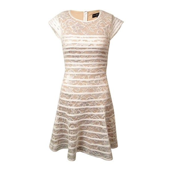 Shop Betsy   Adam Women s Floral Lace Cap Sleeve Dress - White Nude - On  Sale - Free Shipping Today - Overstock.com - 16086136 c2e7a10a7