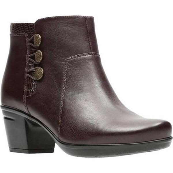 44933a84c16 Clarks Women  x27 s Emslie Monet Bootie Dark Brown Full Grain Leather