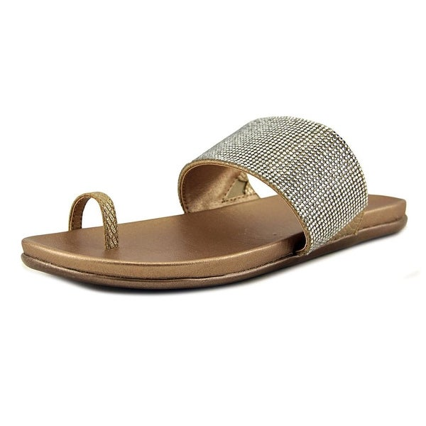 Kenneth Cole Reaction Slim Tricks 2 Women Open Toe Synthetic Gold Slides Sandal
