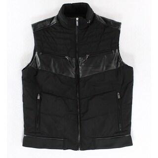 Reaction Kenneth Cole NEW Black Men Medium M Faux-Leather Vest Jacket