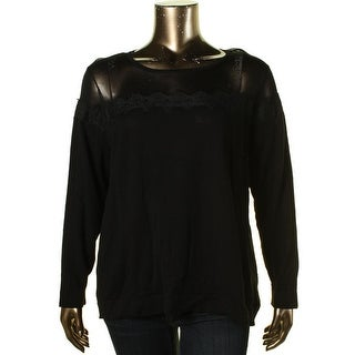 Vince Camuto Womens Plus Knit Lace Pullover Sweater - 3X