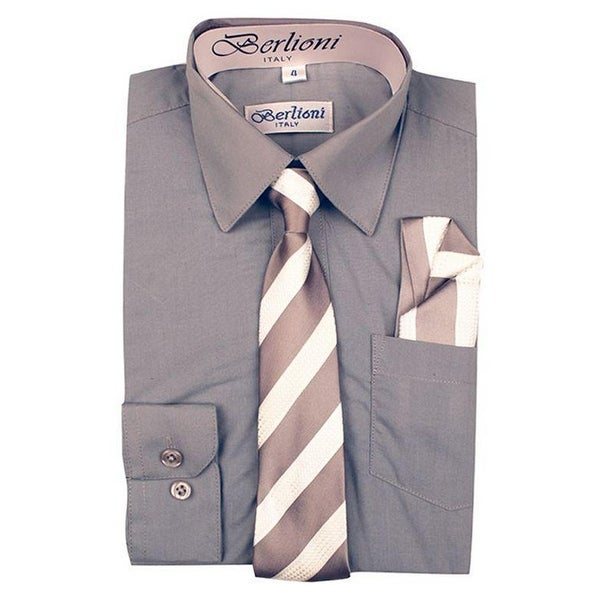 fee2810dd Shop Berlioni Boys Light Grey Striped Necktie Hanky 3 Pc Dress Shirt Set - Free  Shipping On Orders Over $45 - Overstock - 27211969