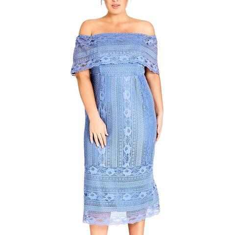 City Chic Women's Dress Light Blue Size 22 Plus Sheath Off Shoulder