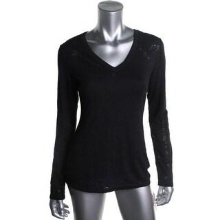 Jenni by Jennifer Moore Womens Sleep Shirt Burnout Long Sleeves - S