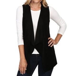 Calvin Klein NEW Black Women's Size Medium M Faux Suede Vest Jacket
