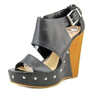 Vince Camuto Matta Women Open Toe Leather Black Wedge Sandal