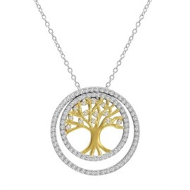 Amanda Rose Two Tone 3-in-1 CZ Tree of Life Pendant-Necklace in Sterling Silver on a 18 in. Chain