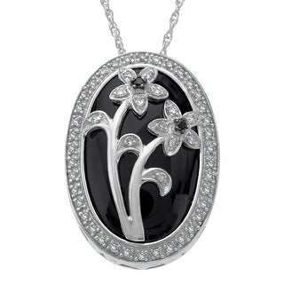 Natural Onyx & 1/5 ct Diamond Flower Pendant in Sterling Silver - Black