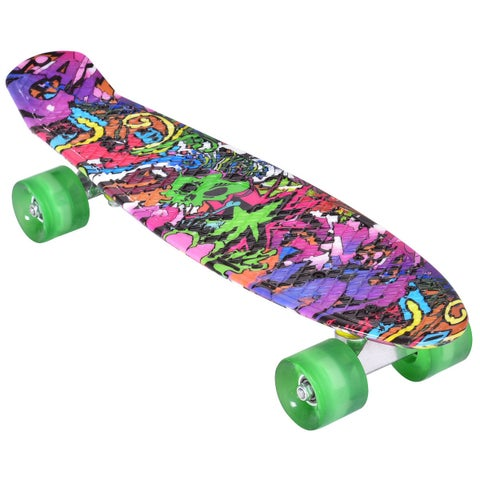 Gymax Complete Cruiser Skateboard Bendable Deck PU Casters Kids Beginners - as pic