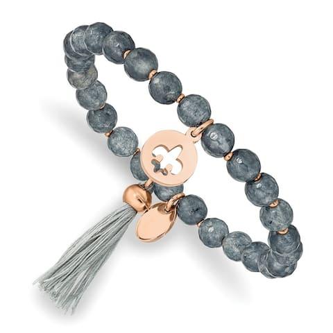 Chisel Stainless Steel Polished Rose IP-plated Fleur de Lis Grey Agate Stretch Bracelet