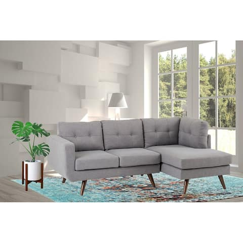 Mid Century Drake Upholstery Fabric Sectional In Light Gray