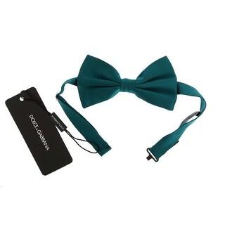 Dolce & Gabbana Dolce & Gabbana Green Aquamarine Silk Bow Tie - One size