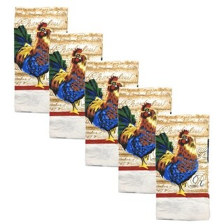 Kitchen Collection 5-Piece Blue Rooster, Towel Set, Multi, 15x25 Inches - N/A