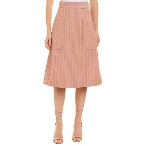 Rebecca Taylor Striped Linen-Blend Wrap Skirt