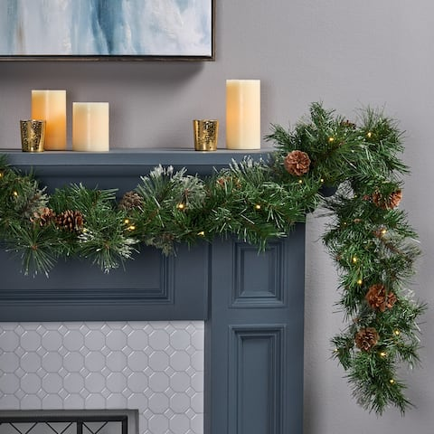 """9-foot Cashmere Pine Pre-lit Artificial Christmas Garland by Christopher Knight Home - Green - 108.00"""" L x 10.00"""" W x 4.00"""" H"""