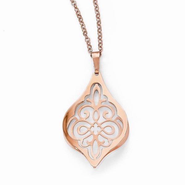 Italian Sterling Silver Rose Gold Plated Polished Necklace - 18 inches