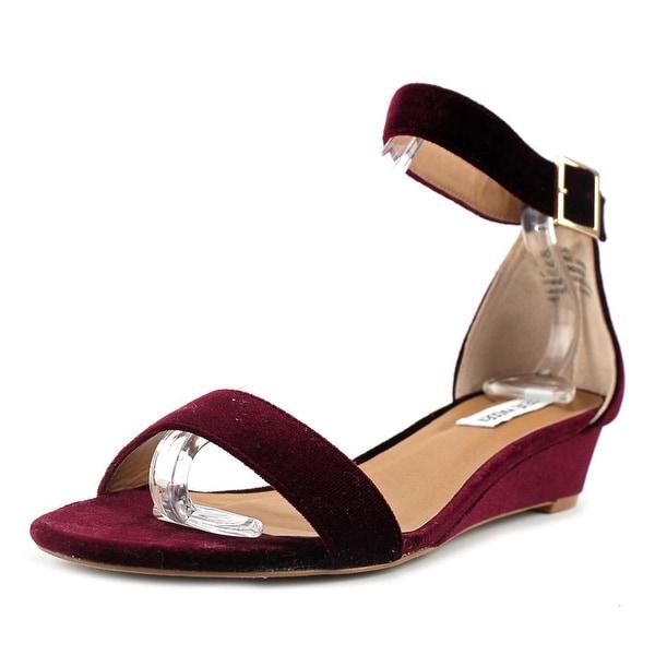 Steve Madden Margie Women Open Toe Canvas Burgundy Sandals