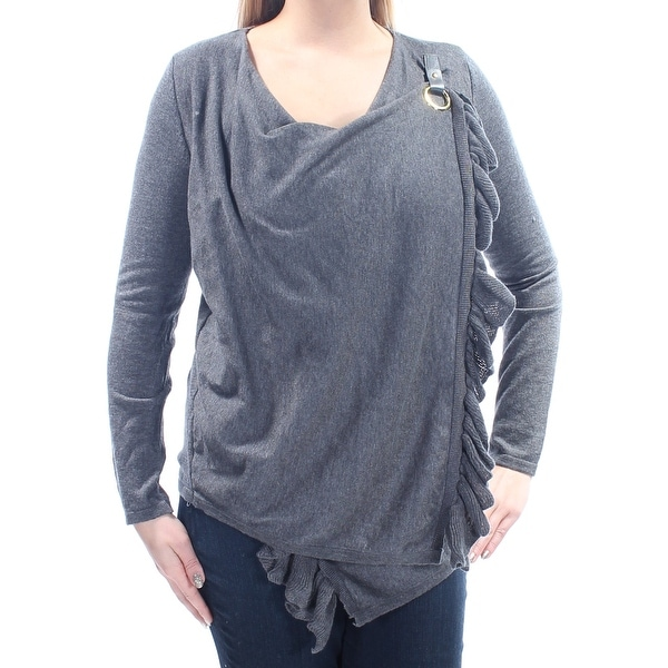 830bdbe5b23 Shop Womens Gray Long Sleeve Jewel Neck Wrap Sweater Size L - On Sale - Free  Shipping On Orders Over  45 - Overstock.com - 23455139