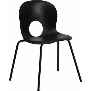 Offex 770 lb. Capacity Designer Black Plastic Stack Chair with Black Powder Coated Frame Finish [OF-RUT-NC258-BK-GG]