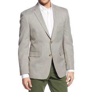 Tommy Hilfiger Mens Ethan Two-Button Blazer Mini Checkered Trim Fit - 40s