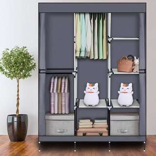 "71"" Portable Closet Wardrobe Clothes Rack Storage Organizer with Shelf"