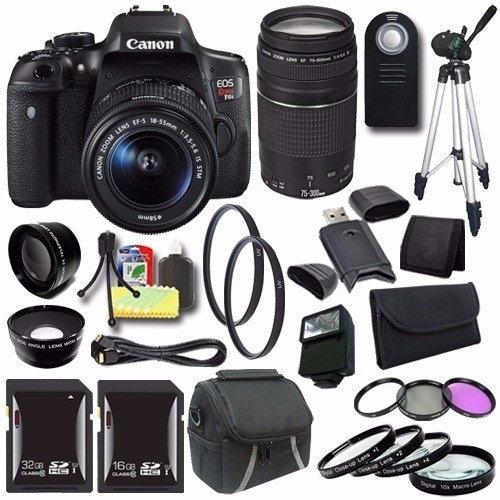 Canon EOS Rebel T6i DSLR Camera with EF-S 18-55mm f/3.5-5.6 IS STM Lens 0591C003 + EF 75-300mm Lens + 32GB Card Saver Bundle