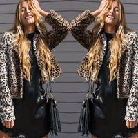 Fashion Womens Leopard Faux Fur Jacket Coat  Parka Outwear Long Sleeve Cardigan