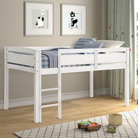 Safety Height Twin Size Wood Loft Bed for Kids with Ladder
