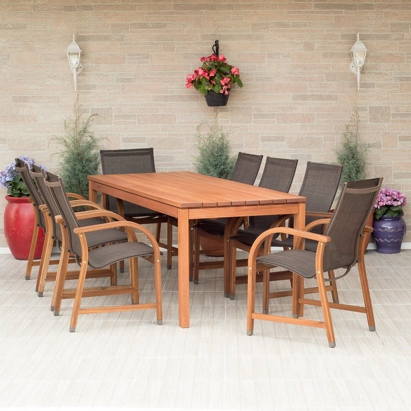 Amazonia Stella Brown Wood 9-piece Rectangular Patio Dining Set