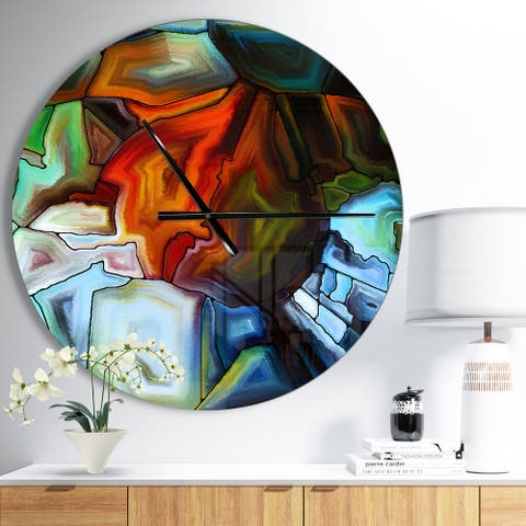 Designart 'Abstract Stained Glass Design' Oversized Modern Wall CLock