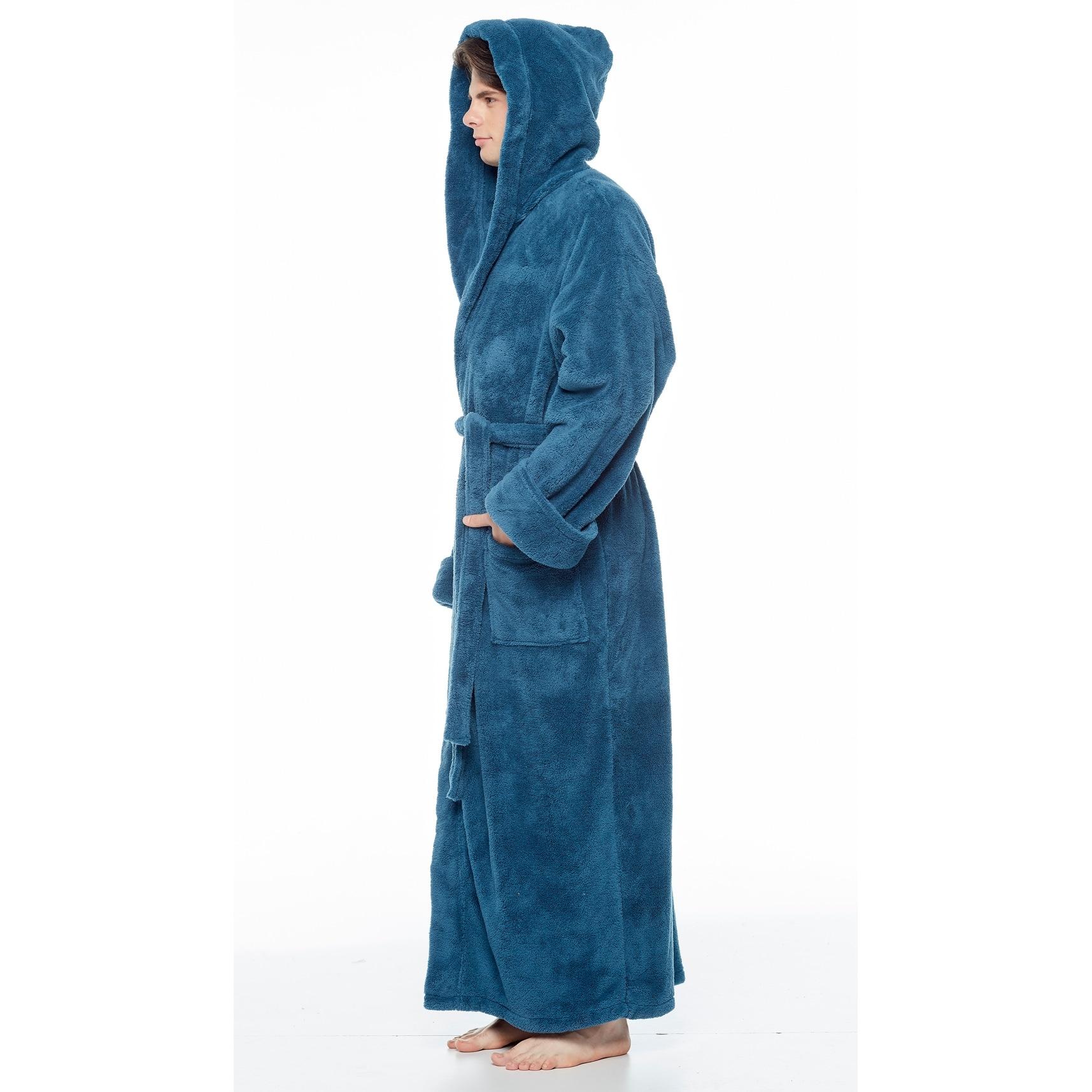 Mens Big and Tall Hooded Robe S-5XL Fleece Plush Kimono Bathrobes Velour Nightgown Spa Shawl Bathrobe Robes