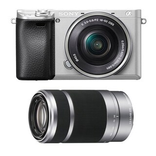 Sony Alpha a6300 Silver Mirrorless Digital Camera with 16-50 and 55-210 Lenses