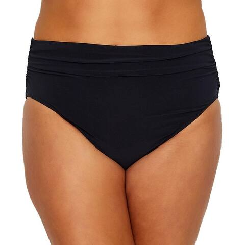 Magicsuit Black Womens Size 14 Shirred High-Waist Swim Bikini Bottom