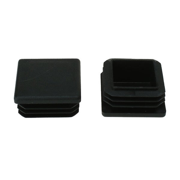 35 x 35mm Plastic Square Ribbed Tube Inserts End Cover Cap