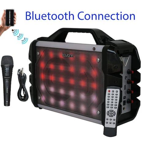 Boytone BT-52M Portable Audio karaoke Bluetooth PA Speaker System with Microphone, FM Radio, USB Port MP3 AUX ports, built in