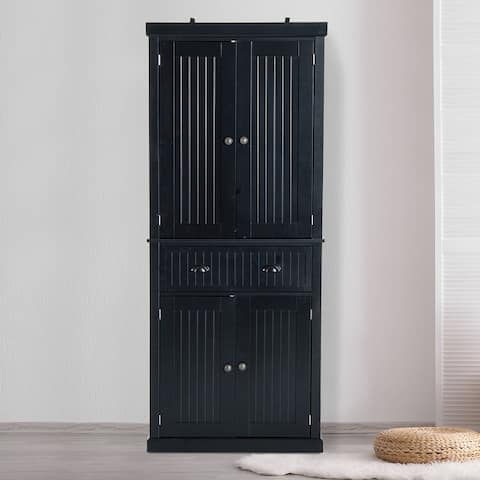 HomCom Black Finish 72-inch High Kitchen Pantry Cabinet