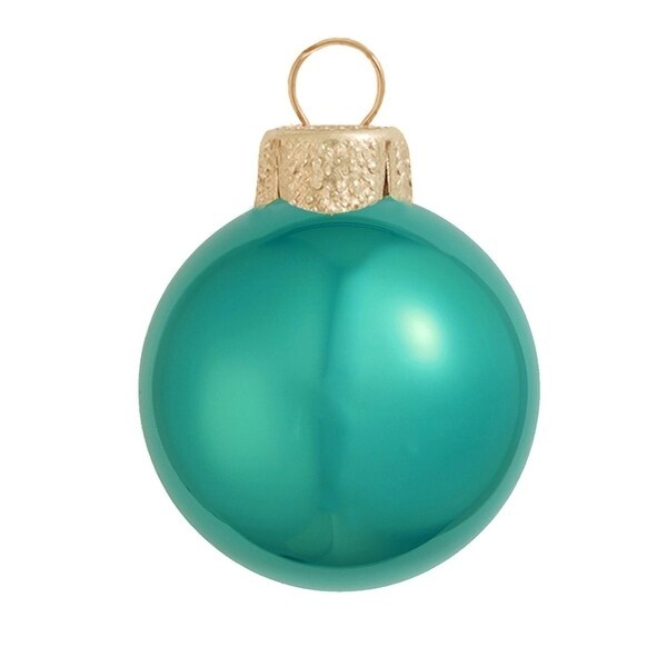 """8ct Pearl Teal Green Glass Ball Christmas Ornaments 3.25"""" (80mm)"""