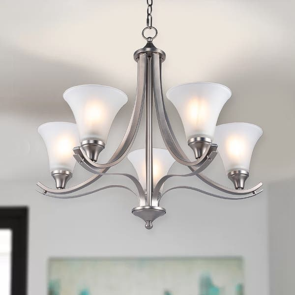 Traditional 5 Light Shaded Chandelier Overstock 32583493