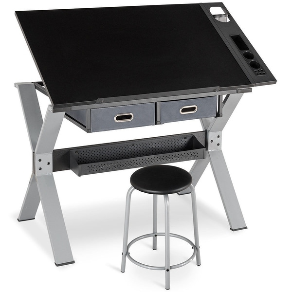 Gymax Adjustable Drafting Table Drawing Desk Tiltable Tabletop W/Stool  U0026amp; Drawer Black