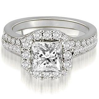 1.02 CT.TW Halo Princess And Round Cut Diamond Bridal Set - White H-I (Option: 10.75)