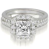 18kt White Gold 1.17 CT.TW Halo Princess And Round Cut Diamond Bridal Set HI,SI1-2