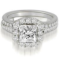18kt White Gold 1.42 CT.TW Single Halo Princess And Round Cut Diamond Matching Bridal Set HI,SI1-2