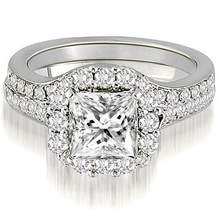 18kt White Gold 1.42 CT.TW Single Halo Princess And Round Cut Diamond Matching Bridal Set HI,SI1-2