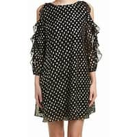 Eliza J Womens Cold-Shoulder Ruffle-Trim Sheath Dress