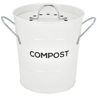 Spigo Steel Kitchen Compost Bin With Vented Charcoal Filter and Bucket, 1 Gallon (Option: White)