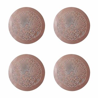 Chair Seats Tan Leather Round 12 Dia Embossed Set of 4 Renovator's Supply